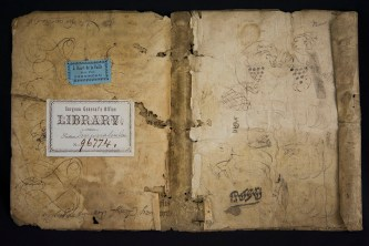 A piece of parchment with paper attached covered in doodles and library stickers.