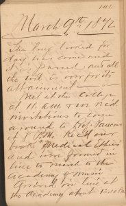 A handwritten page dated in very large script March 9, 1872.