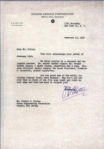 Typewritten letter on Kaiser-Frazer Corporation letterhead.