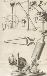 Drawing showing Hooke's microscope and measurement devices