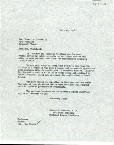 A one page typwritten letter.