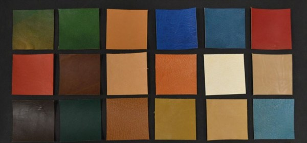 Squares of colored leather.