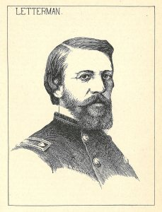 An engraved portrait of a white man with a full beard in a military uniform.