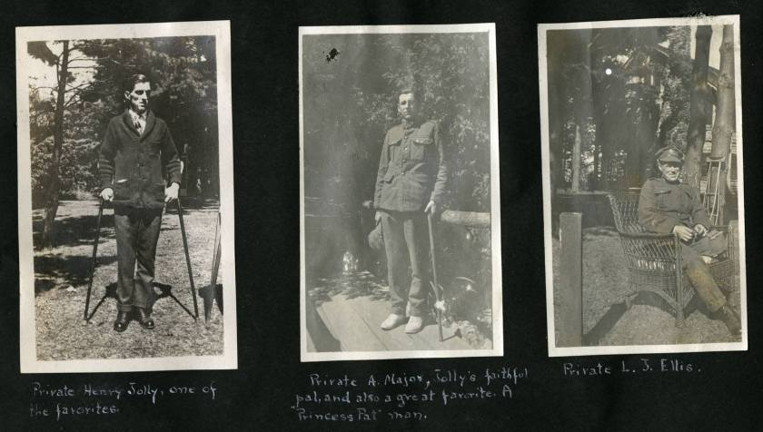 Scrapbook page of three photos of different soldiers.