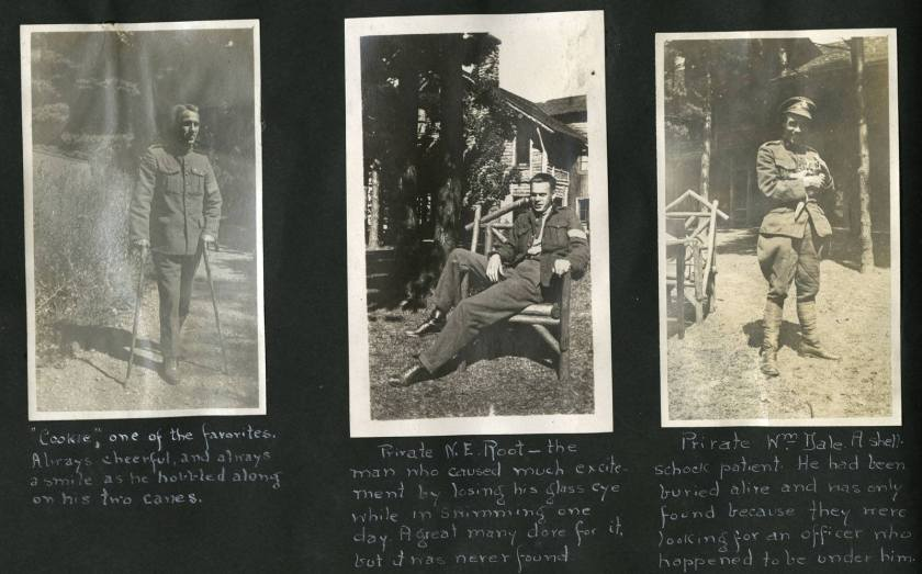Scrapbook page with three photos of soldiers.