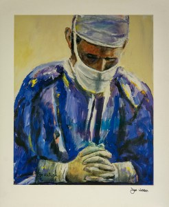 A surgeon with his eyes closed, head tilted down, and hands folded in front of him in deep thought or prayer.