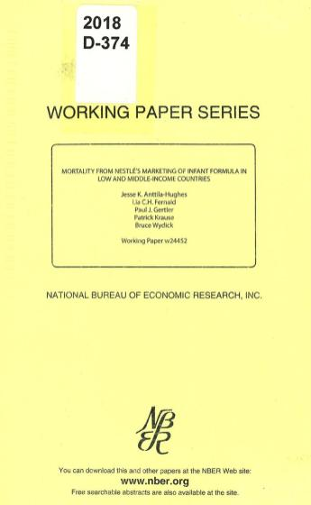 Cover of a pamphlet from the National Bureau of Economic Research, Inc.
