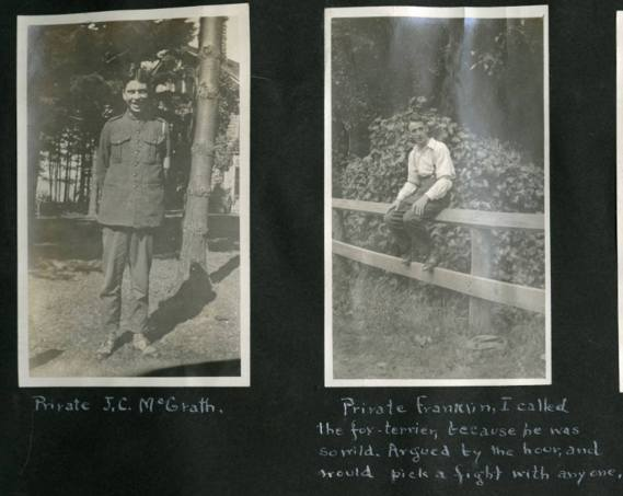 Two photos of soldiers posing from the Leek Island scrapbook.