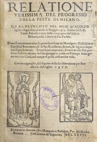 Title page featuring woodcuts of Images of the Blessed Virgin Mary and St. Roch.