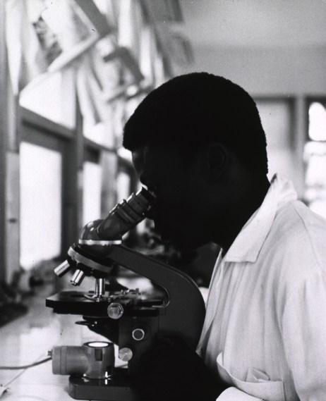 A black man inspects a specimen under a microscope
