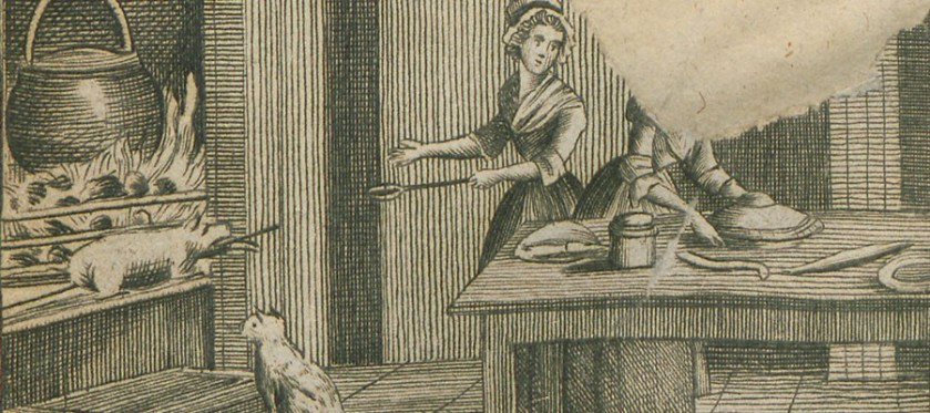 Woodcut of two women working in a kitchen with an open hearth.