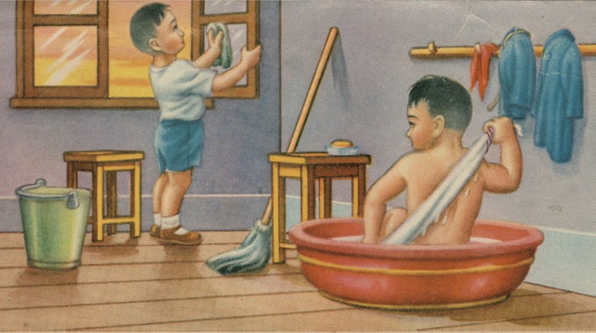 Bathing and cleaning the house.