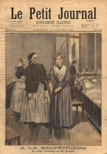 Cover illustration in a newspaper of Marguerite Bottard in a nurses uniform helping a patient.