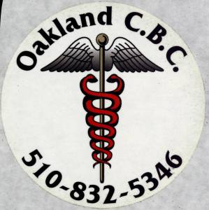 A sticker advertinsing the Oakland Cannabis Buyer's Club