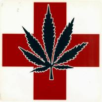 A sticker featureing a black leaf over a red cross on a white background.
