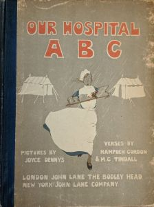 The cover of the book shows a nurse carrying a tray through the rain between tents.