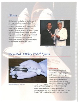 An informational brochure on the MicroMed DeBakey VAD System history and technology with photos of Dr. DeBakey and the pump system.