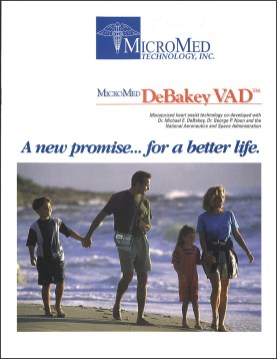 MicroMed DeBakey VAD Brochure cover with a photo of a family on the beach.