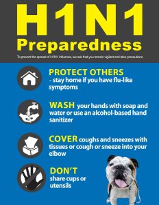 Public health notice about precautions to take to prevent the pread of the H1N1 virus.