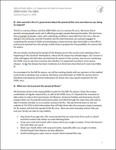 A&Q document from the Office of Public Affairs, DHHS.