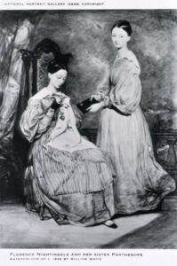 A drawing on a postcard of two young women in long dresses one sewing and one holds a book.