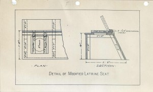 Sketch diagram of a modified latrine seat.