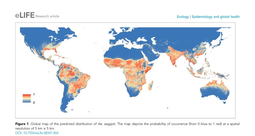 Map of predicted distribution of Zika