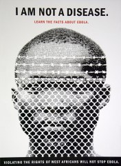 Dominant image is the head of a West African man who is looking through a white barbed wire fence