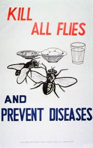Visual image is an illustration of two flies near a plate of fish, a basket of bread, and a glass of water
