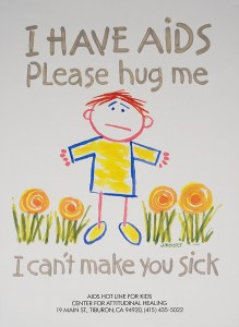 Crayon-like drawing of a child standing amid flowers. The child's arms are stretched out as if asking for a hug