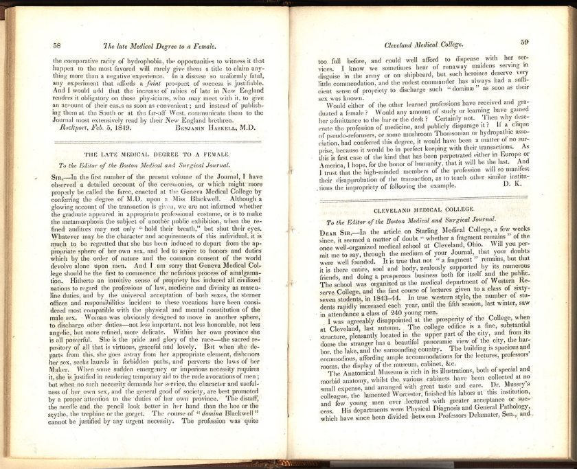 Pages 58 and 59 of the Boston Medical and Surgical Journal featuring an unflattering article about Elizabeth Blackwell receiving her medical degree titled The Late Medical Degree to a Female by D. K.