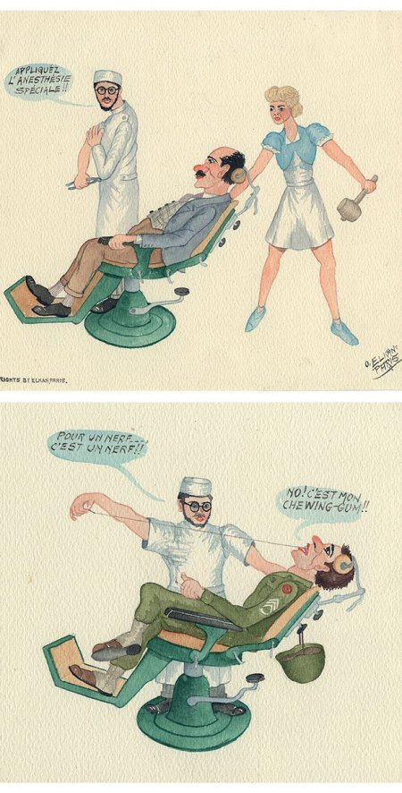 Two colored drawings of scenes in a dental office with speech bubbles in French.