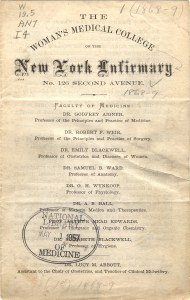 Title page of the 1868-69 announcements for The Woman's Medical College of the New York Infirmary.