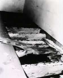 A photograph shows damaged wooden floor joists.