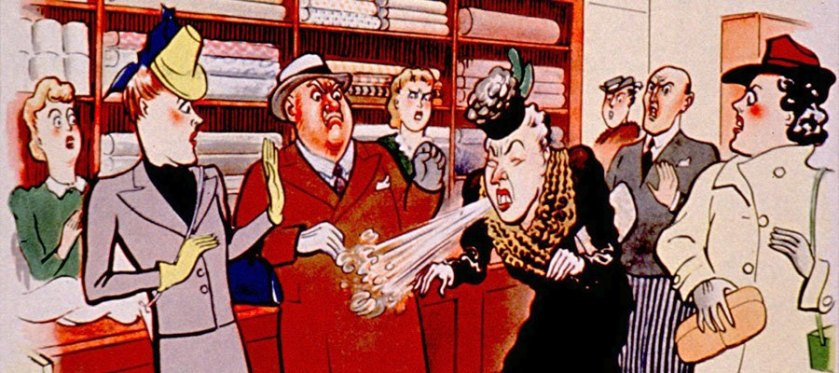 Postcard art shows people reacting with disgust as a person in a shop sneezes openly.