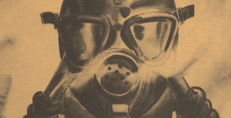 A drawing of a person in a gas mask surrounded by smoke.
