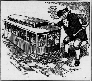 A huge figure in a tricorn hat that reads D.C. speaks to a crowded trolly car.