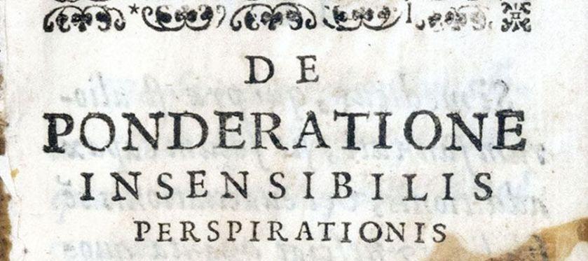 Detail of printed heading reading De Ponderatione Insensibilis perspirationis.