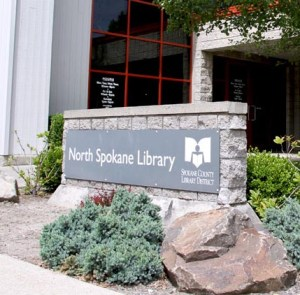 Landscaped sign for North Spokane Library.