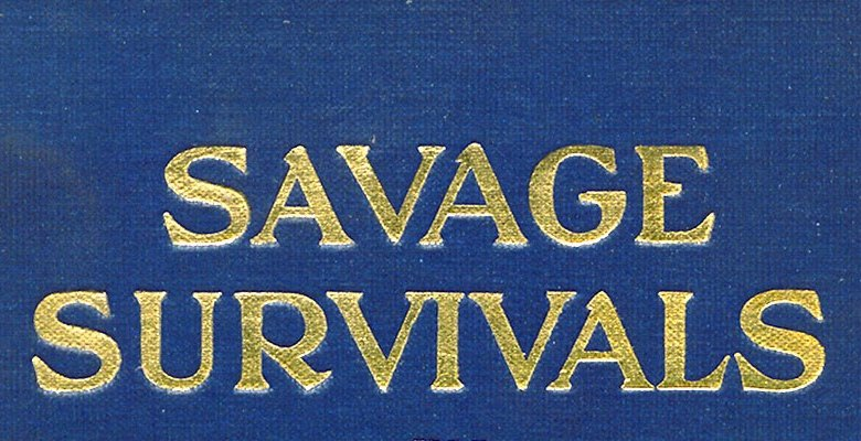 Detail of gold embossed book cover for Savage Survivals