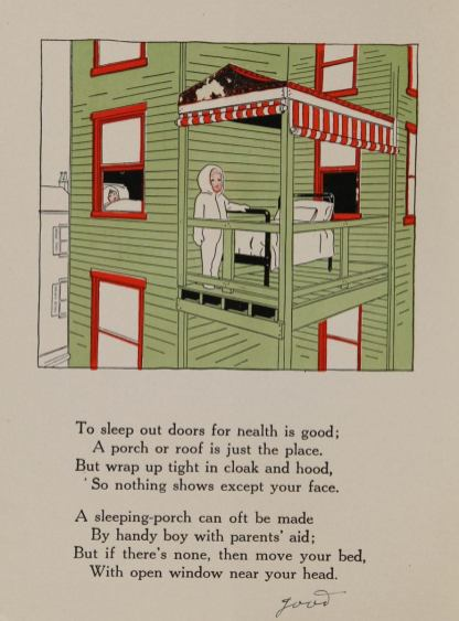 A boy in a hooded on piece pajama suit stands on a second floor porch by a bed.