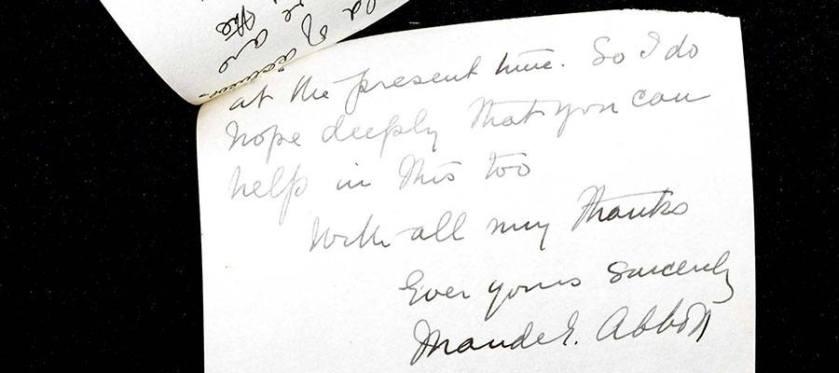 A handwritten document signed by Maude Abbott.