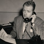 """Gorman on the phone, holding a reprint copy of his series on Oklahoma's state mental hospitals, """"Misery Rules in State Shadowland."""""""