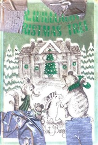 A book with an illustraton of a group of animals approaching a house with a Christmas tree, mended with duct tape in four places on the spine and edges.