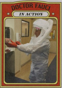 Dr. Anthony Fauci wearing personal protective equipment (PPE) while treating a patient with Ebola