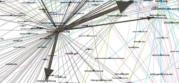 A network of nodes and edges showing the domains and links between them. for the NLM Domestic Violence Awareness and Prevention web archive collection.