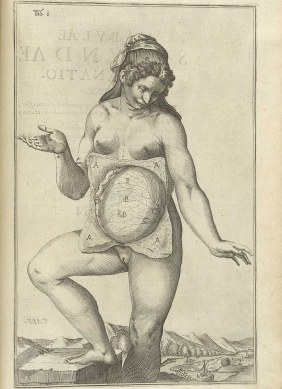A labeled anatomical figure of a preganant woman standing posed as though in a painting but with the abdominal skin lisfed aside to expose the uterine wall.