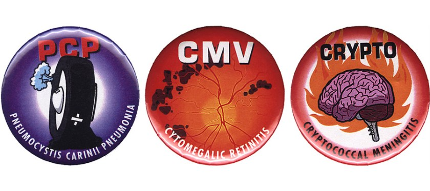 Photographs of three buttons naming PCP, CMV and Crypto, three diseases associated with AIDS..