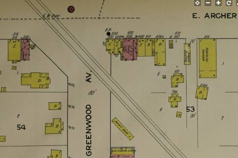 A map of the intersection of E. Archer and N. Greenwood Ave Showing individual buildings with annotations.