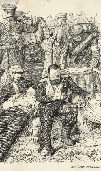 A printed image of a realisticly rendered scene of injured soldiers bandaged in various ways.
